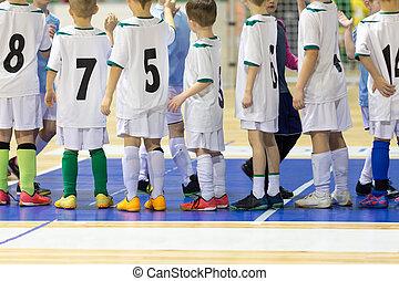 juego, fútbol, interior, niños, niños, niños, futbol, De...