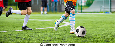 Football match for children. Training and football soccer...