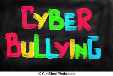 Cyber, intimidar, concepto,