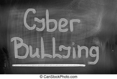 intimidar, concepto,  Cyber