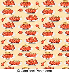 vector illustration fried chicken legs seamless pattern