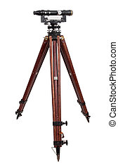 vintage theodolite over white background surveyor level...