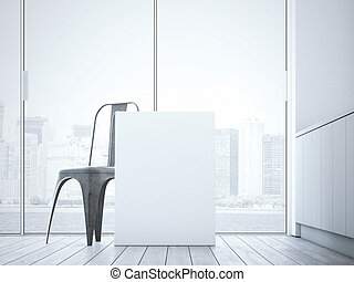 Blank canvas near chair in the bright interior. 3d rendering