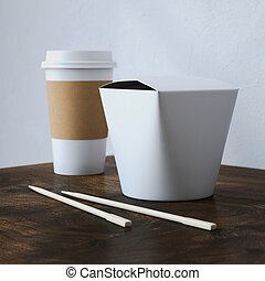 Chinese food box with white cup. 3d rendering