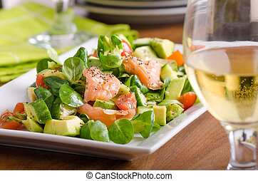 Fresh salad with salmon