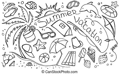 Doodle vector set of summer vacation