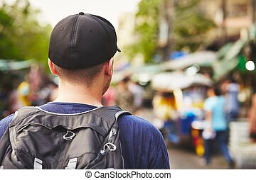 Traveler in Asia - Young traveler with back pack - Bangkok,...