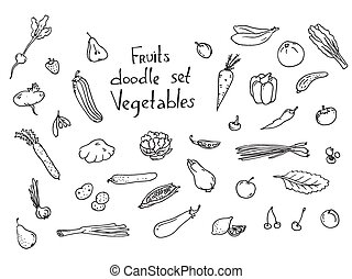 Fruits and vegetables Sketch set, excellent vector...
