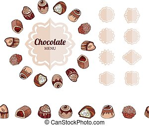 Different chocolate candies on white Frame, seamless...