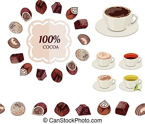 Different chocolate candies and cups of tea and coffee on...