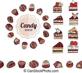 Different chocolate candies and slices of cake on white...