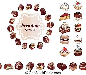 Different chocolate candies, desserts and pastry on white...