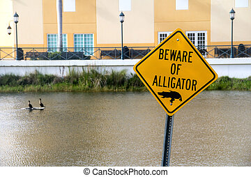 beware of alligator warning caution sign near water