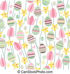 Seamless pattern with easter willow and painted eggs