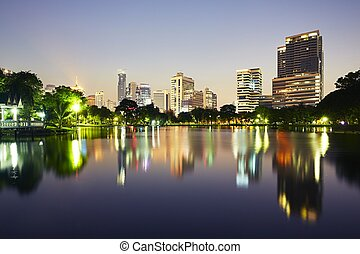 Bangkok at the sunset - Bangkok skyline at the sunset -...