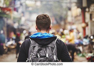 Traveler in Asia - Young traveler with back pack - Hanoi,...