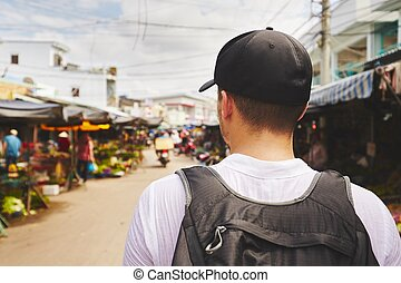 Traveler in Asia - Young traveler with back pack - Phu Quoc,...