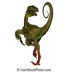 Ornitholestes on White - Ornitholestes was a small...