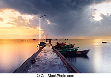 Fishing village - Pier in fishing village - Phu Quoc island,...