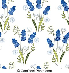 Seamless pattern with stylized cute blue muscari - Seamless...