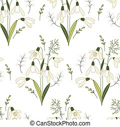 Seamless pattern with stylized cute white snowdrops -...