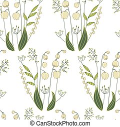 Seamless pattern with stylized cute lilies of the valley -...