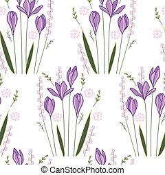 Seamless pattern with stylized cute crocuses Endless texture...