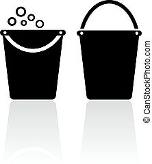 Bucket icon - Buckets icons set on white background
