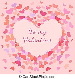 Saint Valentines Greeting Card, Banner with Hearts