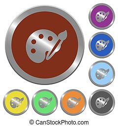 Color palette buttons - Set of glossy coin-like color...