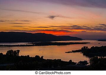 Volga river at dawn, panorama view near  city Samara