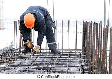 trabajador, construcción, sitio, Elaboración,...