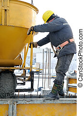 construction worker at concrete work