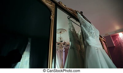 white dress of the bride in a beautiful interior - amazing...