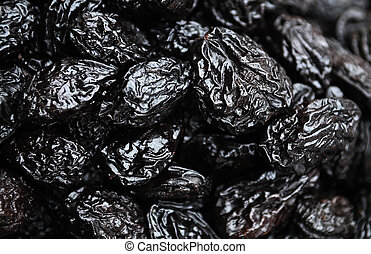 dried prune - Heap of black dried prune