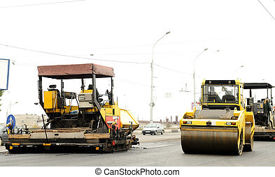construction equipment at road building - road construction...