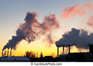 Air pollution by smoke at sunset - air pollution with...