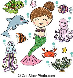 Mermaid with sea animals cartoon vector design, illustrator...