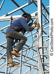 electric arc welding - Man welder working welding with...