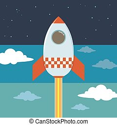 Rocket Ship Blasting To Outer Space - Boy in a rocket ship...