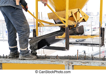 construction worker at concrete work - construction building...