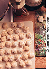 Russian dumplings made by hands are preparing for cooking -...