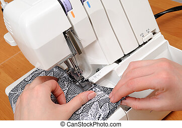 sewing on the machine