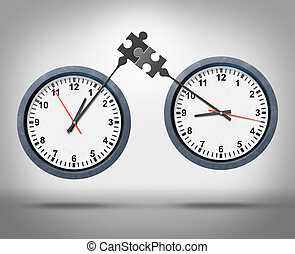 Time Management - Time management concept as two clocks with...