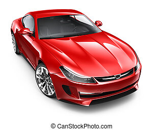 Red sports car isolated on white background