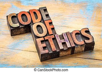 code of ethics bannert in wood type - code of ethics banner...