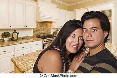 coppia, costume, ispanico, interno, dentro, cucina