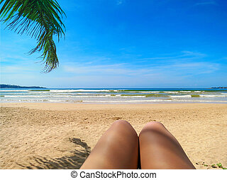Beach view in selfie style with legs and palm leaf - Beach...