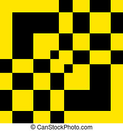 Not a chess table abstract shape black on yellow background