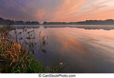 Beautiful lake sunrise landscape - Beautiful lake sunrise...